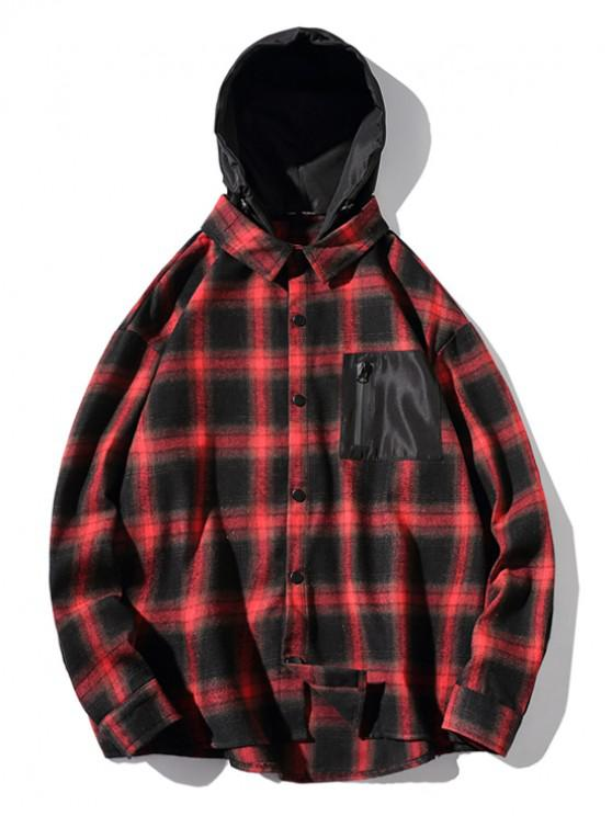 outfit High Low Plaid Zipper Pocket Detachable Hooded Shirt - RED 2XL