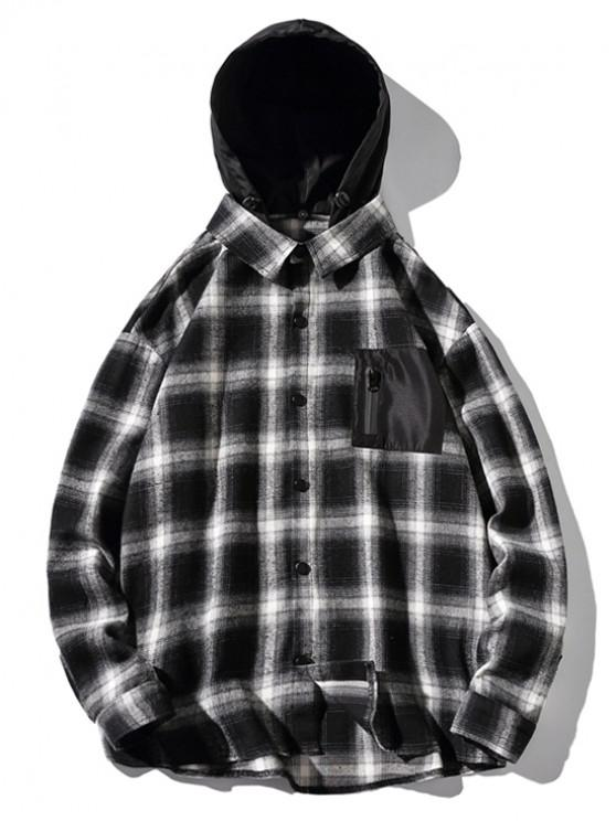 women High Low Plaid Zipper Pocket Detachable Hooded Shirt - BLACK 2XL