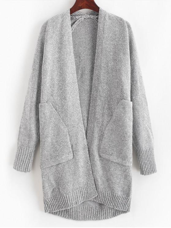 trendy Solid Longline Cardigan with Pockets - GRAY ONE SIZE