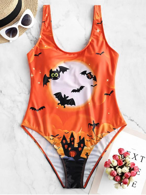 women ZAFUL Halloween Bat Moon and Castle Print One-piece Swimsuit - PAPAYA ORANGE S
