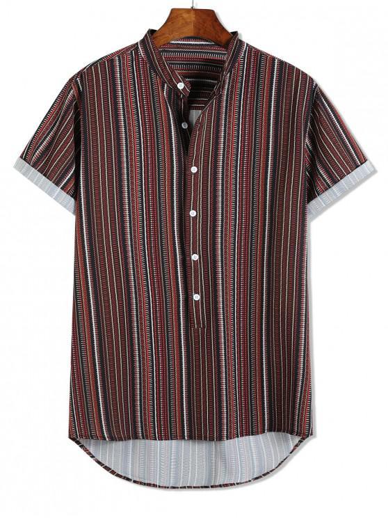 online Short Sleeve Stripes Print High Low Button Up Shirt - MULTI 2XL