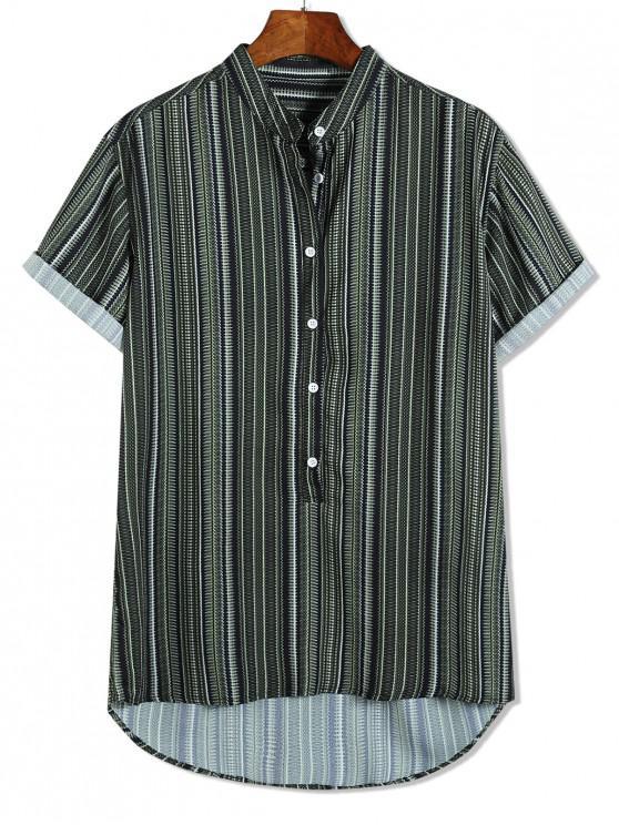 new Short Sleeve Stripes Print High Low Button Up Shirt - MULTI-B M