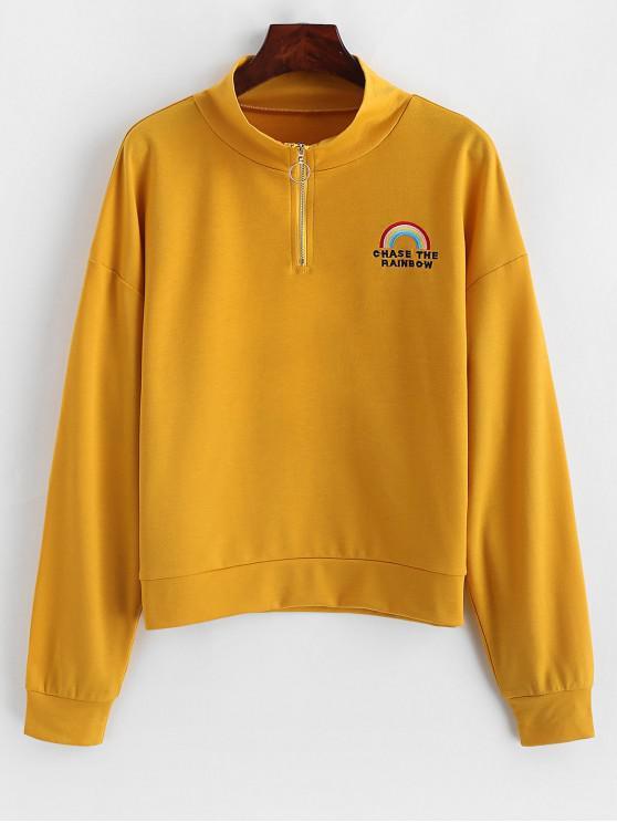 unique ZAFUL O Ring Zip Rainbow Embroidered Sweatshirt - GOLDENROD M