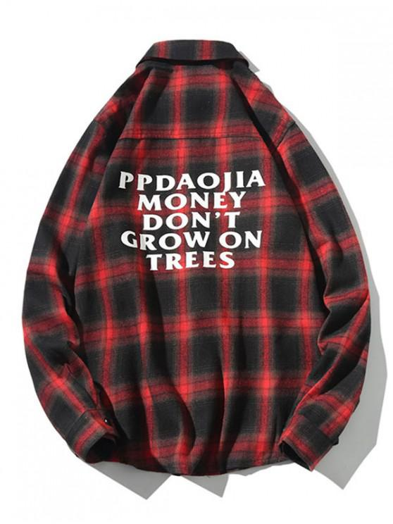 affordable Letter Graphic Plaid Print Long Sleeve Casual Shirt - RED 3XL
