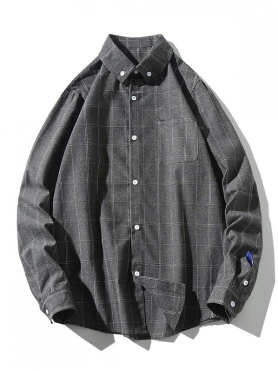 online Long Sleeve Plaid Print Chest Pocket Button Shirt - GRAY 4XL