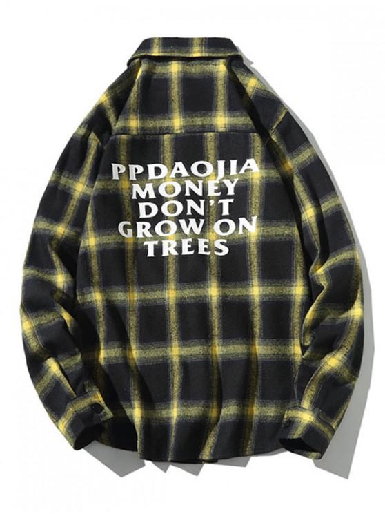 latest Letter Graphic Plaid Print Long Sleeve Casual Shirt - YELLOW L