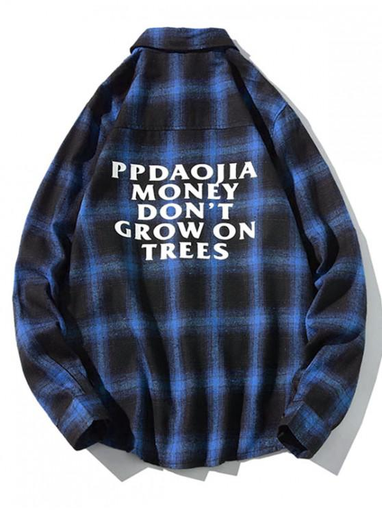 new Letter Graphic Plaid Print Long Sleeve Casual Shirt - BLUE XL
