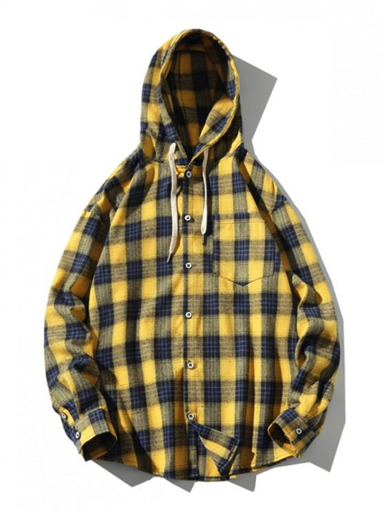 outfits Chest Pocket Plaid Long Sleeve Hooded Shirt - YELLOW 3XL