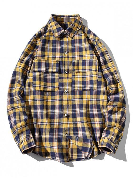 outfits Plaid Print Chest Flap Pocket Curved Hem Button Shirt - YELLOW L