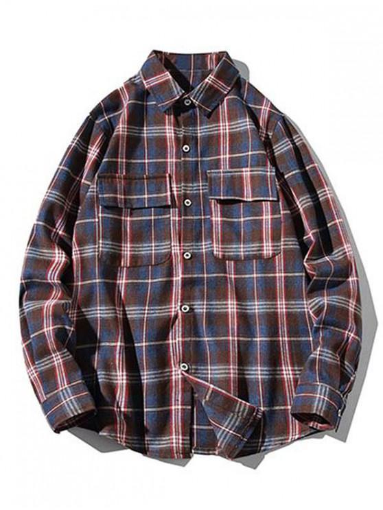 chic Plaid Print Chest Flap Pocket Curved Hem Button Shirt - RED 4XL