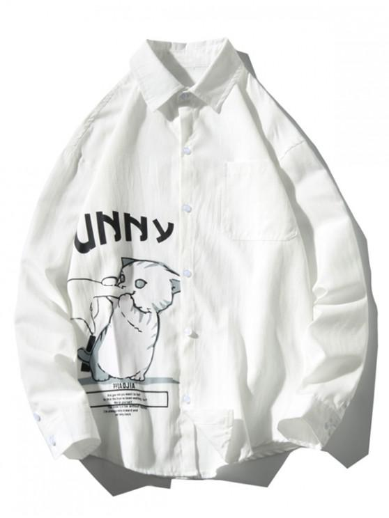 lady Funny Playing Cartoon Cat Letter Print Chest Pocket Shirt - WHITE L