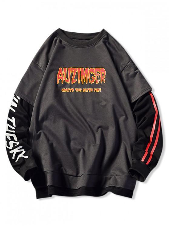 fashion Letter Graphic Patchwork Faux Twinset Side Slit Sweatshirt - GRAY 3XL
