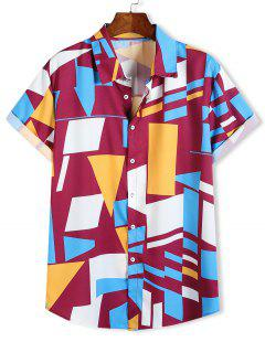 Color Blocking Geometric Print Button Up Vacation Shirt - Multi-a L