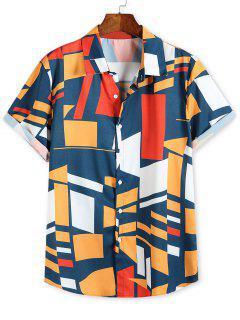Color Blocking Geometric Print Button Up Vacation Shirt - Multi L