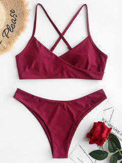 ZAFUL Criss Cross Surplice Bikini Swimsuit - Red Wine M