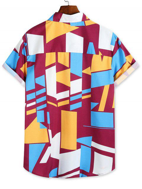 buy Color Blocking Geometric Print Button Up Vacation Shirt - MULTI-A 3XL Mobile