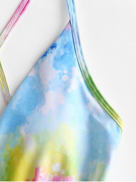 ZAFUL Радужный принт Tie Dye Слитный Купальник - Многоцветный-A S Mobile