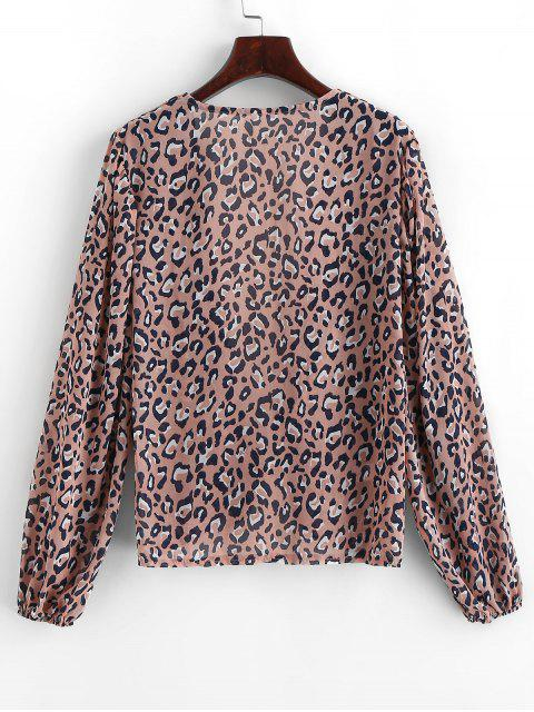 outfits Long Sleeve Tie Front Leopard Blouse - LIPSTICK PINK S Mobile