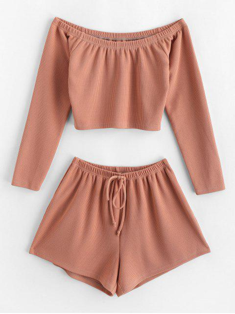 unique ZAFUL Ribbed Off The Shoulder Two Piece Set - DEEP PEACH M Mobile