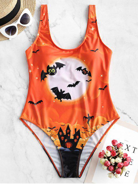 Traje de baño de una pieza ZAFUL Halloween Bat Moon and Castle Print - Naranja Papaya S Mobile