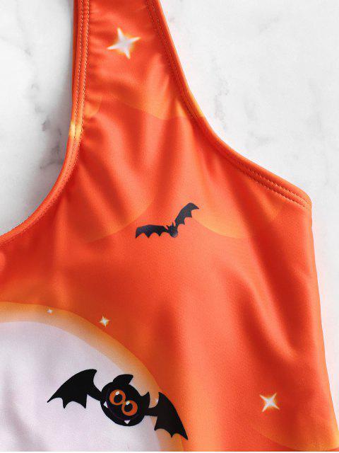 ZAFUL萬聖節蝙蝠月亮和城堡打印連體泳衣 - 木瓜桔子 S Mobile