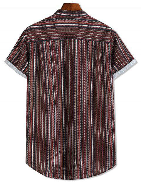 Breve rayas de manga de impresión de alta Botón encima de la camisa baja - Multicolor 2XL Mobile