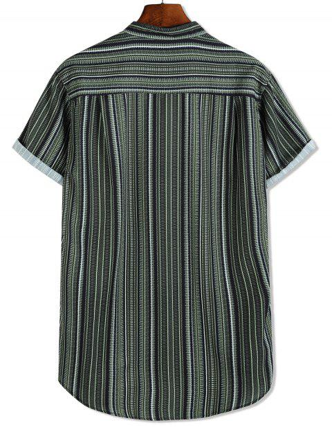 new Short Sleeve Stripes Print High Low Button Up Shirt - MULTI-B M Mobile