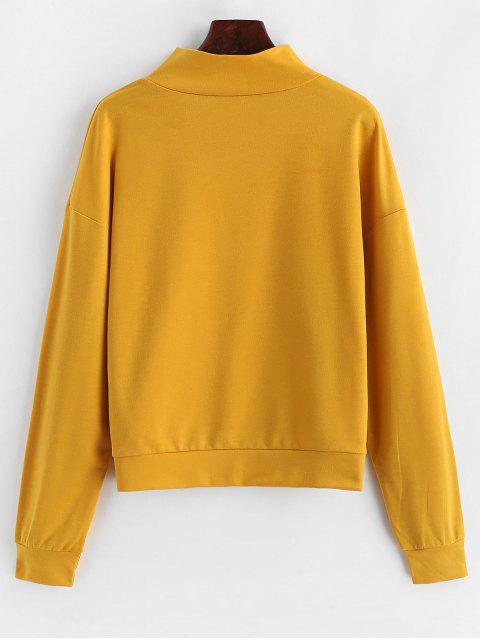 ZAFUL Sweat-shirt Zippé Anneau en O Arc-en-Ciel Brodé - Verge d'Or S Mobile