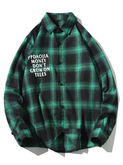 best Letter Graphic Plaid Print Long Sleeve Casual Shirt - GREEN 3XL Mobile