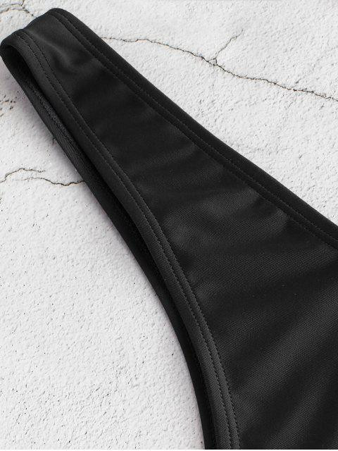 womens ZAFUL Cheeky High Leg Bikini Bottoms - BLACK L Mobile
