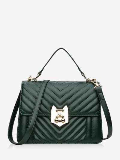 Top Handle Chevron Quilted Flap Crossbody Bag - Dark Forest Green ...