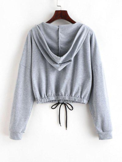 ZAFUL Drawstring Plain Drop Shoulder Hoodie, Gray