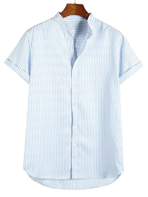 Alta Bassa Stampa A Righe A Manica Corta Da Spiaggia Vacanza Shirt