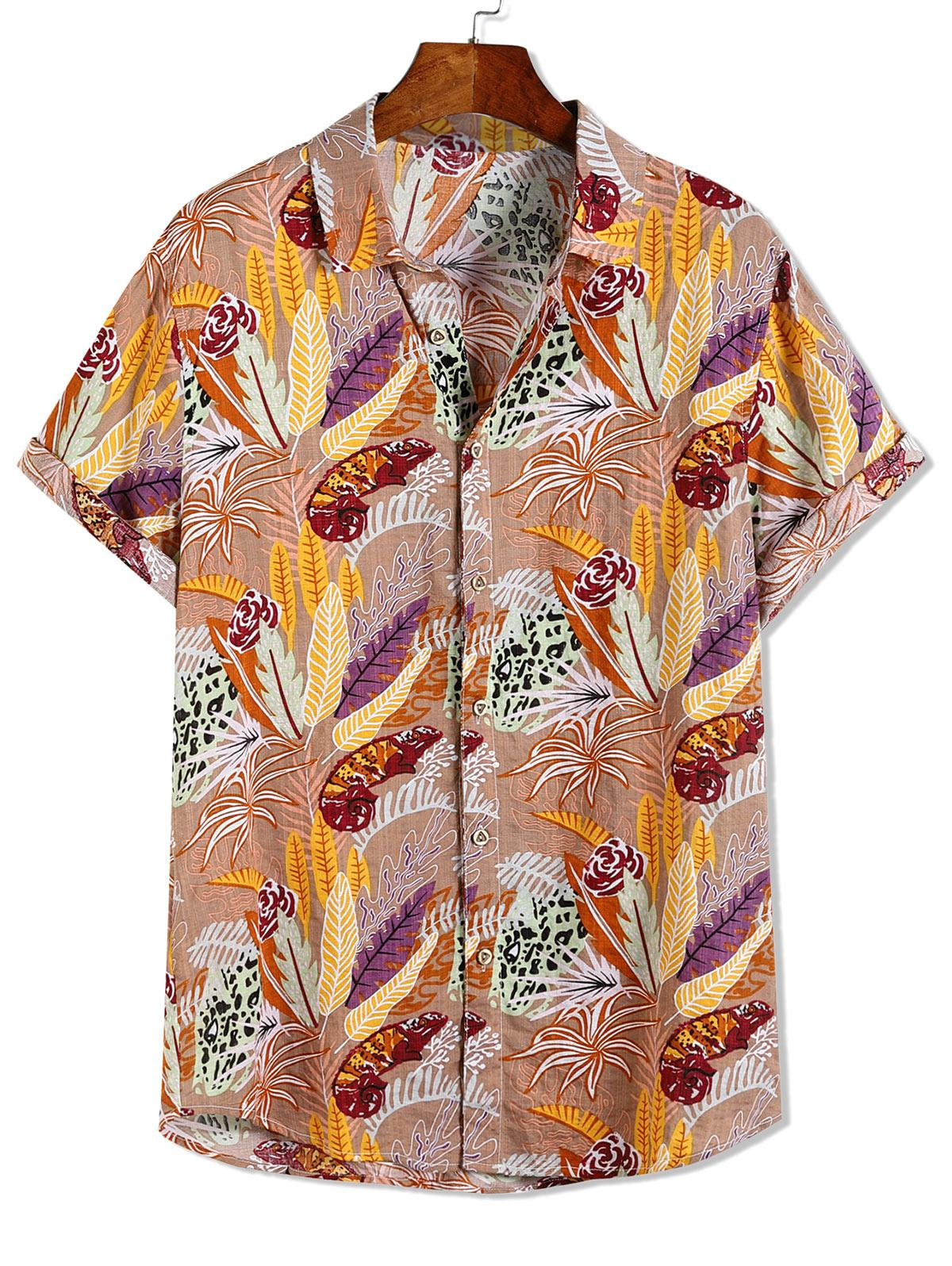 Leopard Fiore Impianto Di Stampa Hawaii Vacanza In Spiaggia Shirt