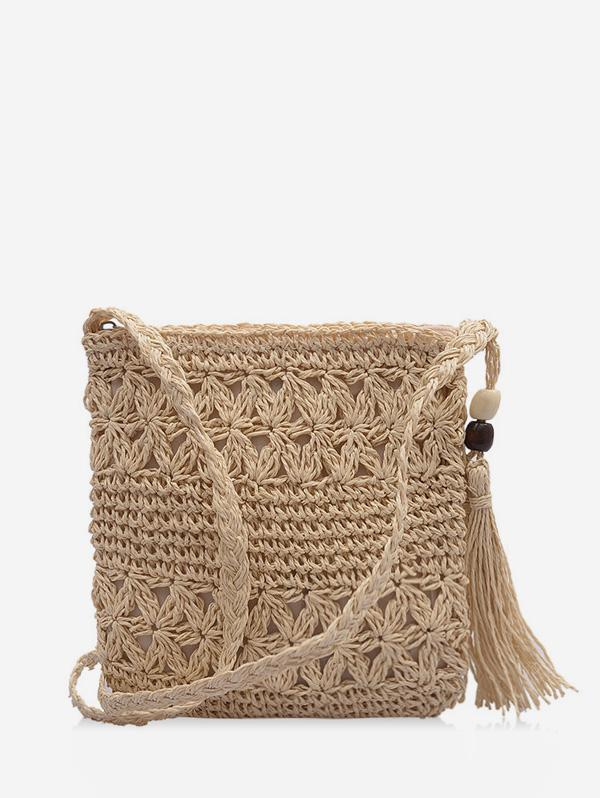 Bohemia Tassel Shoulder Weaving Bag, Warm white