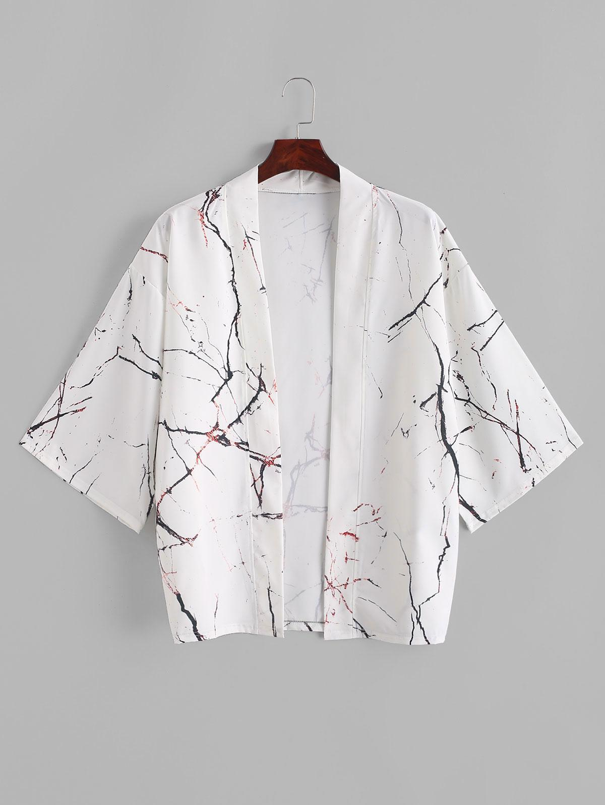 Marmo Grano Stampa Frontale Aperto Kimono Cardigan