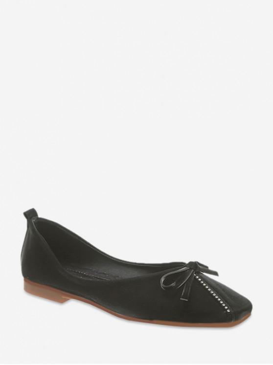 women's Flat Heel Plain Toe Bowknot Design Casual Shoes - BLACK EU 39