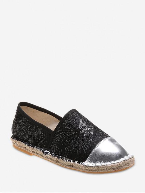 รองเท้าส้นแบน Paillette - สีดำ EU 39