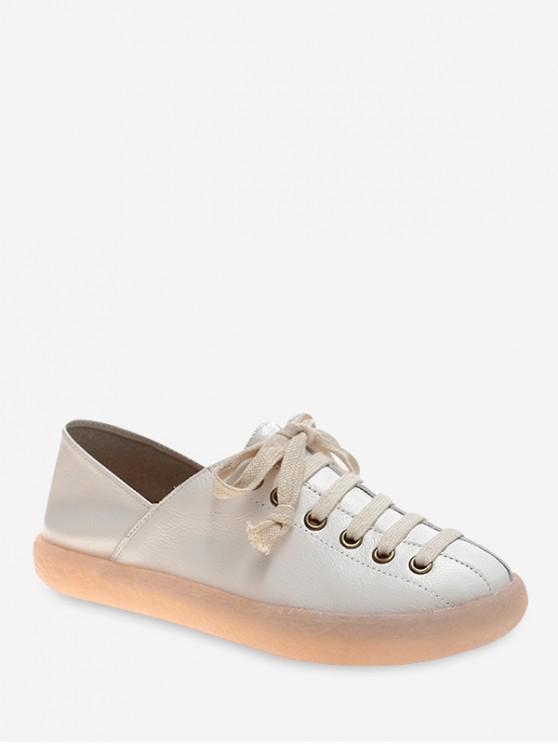 捆綁PU休閒平底鞋 - 白色 歐盟40