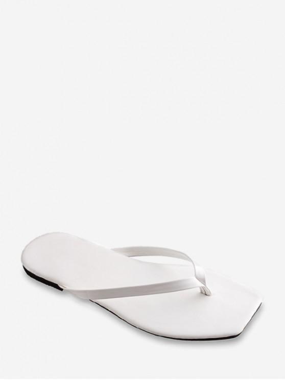trendy Brief Square Toe Flat Flip Flops - WHITE EU 37