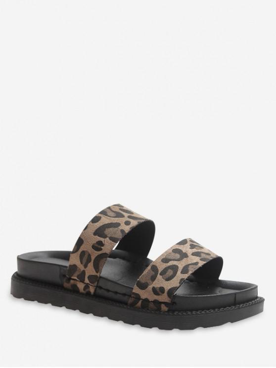 Sandali con due cinturini leopardati - Cachi EU 39