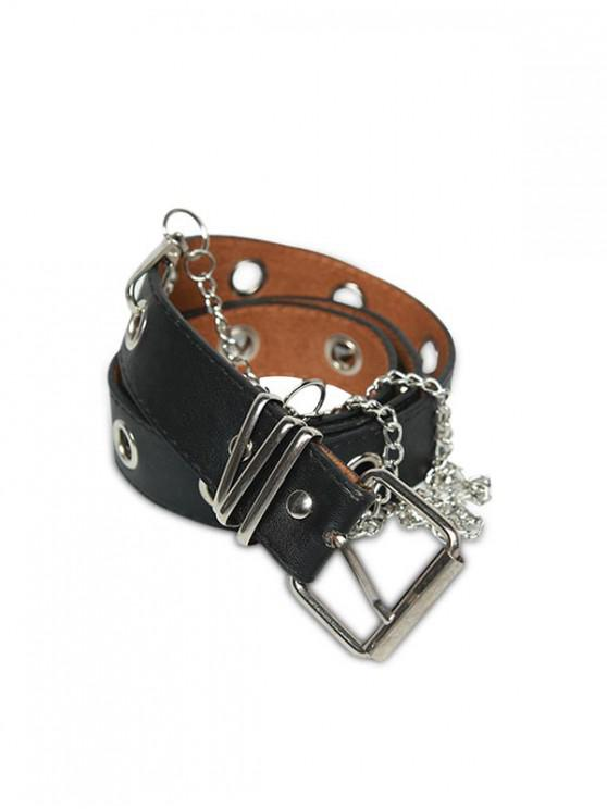 fancy Grommet PU Leather Chain Embellished Waist Belt - BLACK