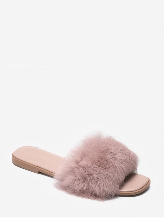 Sandali slip-on tacco piatto tinta unita design fuzzy - Rosa UE 35