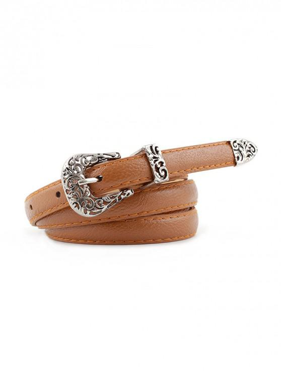 shops Retro Carved Buckle PU Leather Thin Belt - TIGER ORANGE