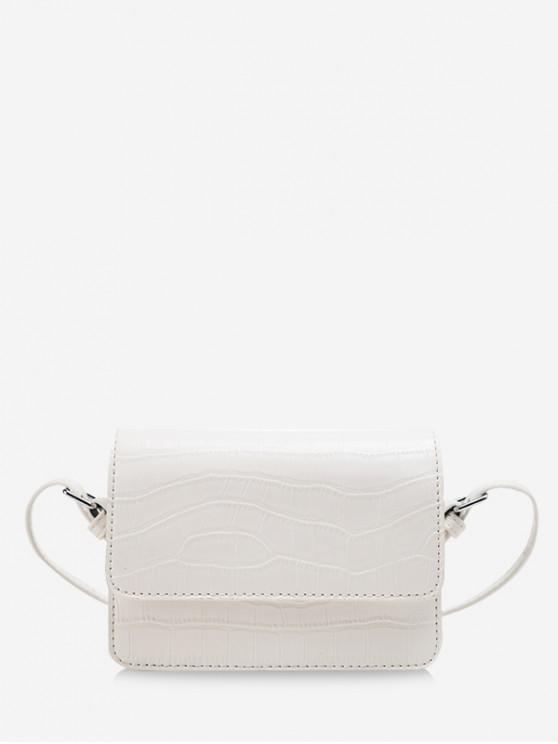womens Animal Embossed Square Messenger Bag - WHITE