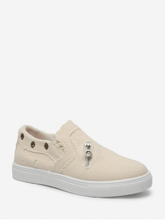 Zip acento resbalón en los zapatos planos - Beige EU 36