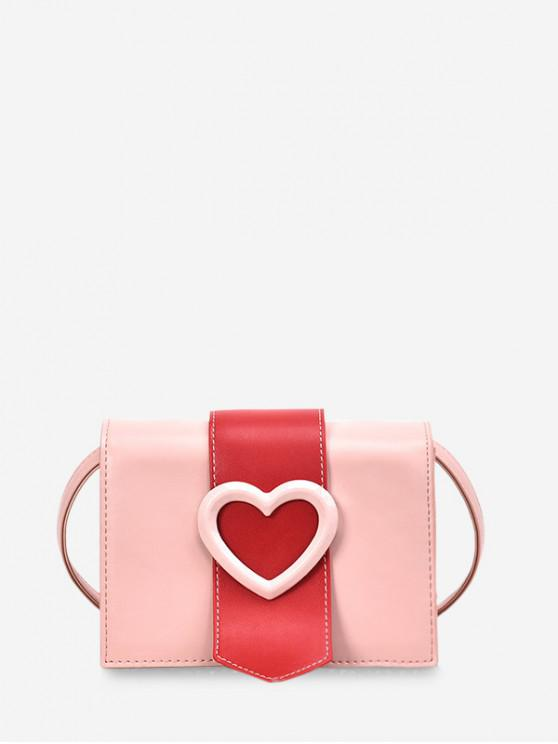 Borsa a tracolla rettangolare con cuore a blocchi di colore - Rosa