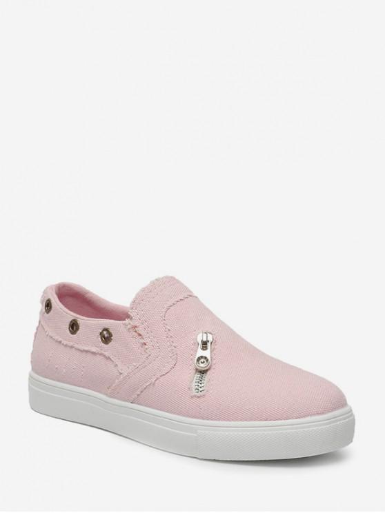 Zip acento resbalón en los zapatos planos - Rosado EU 39