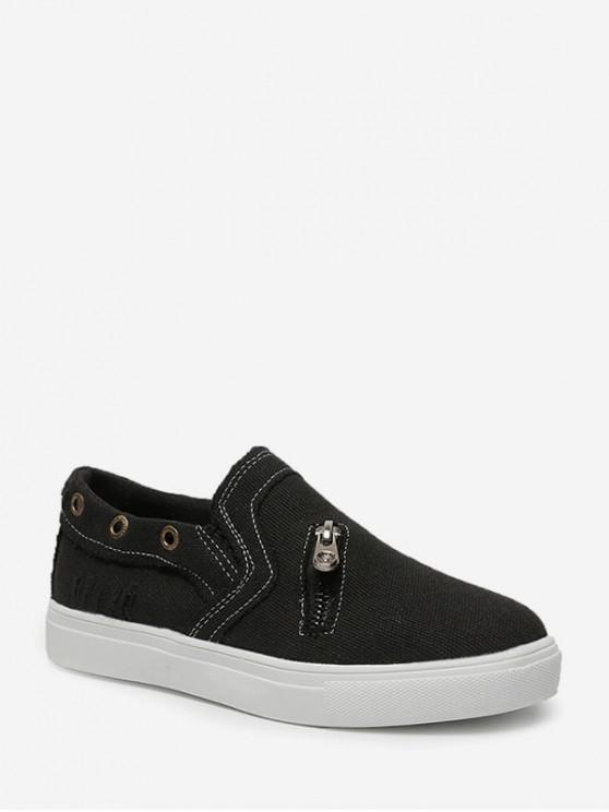 拉鍊口音鞋平底鞋 - 黑色 歐盟42