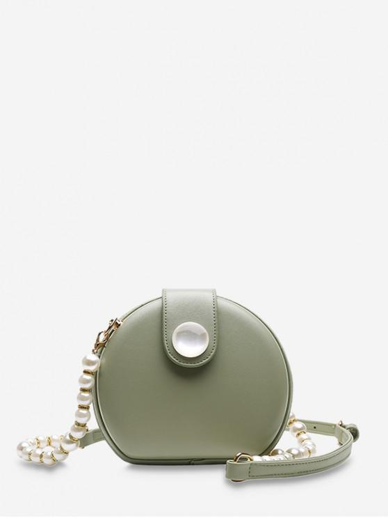 sale Faux Pearl Beaded Strap Canteen Bag - GREEN